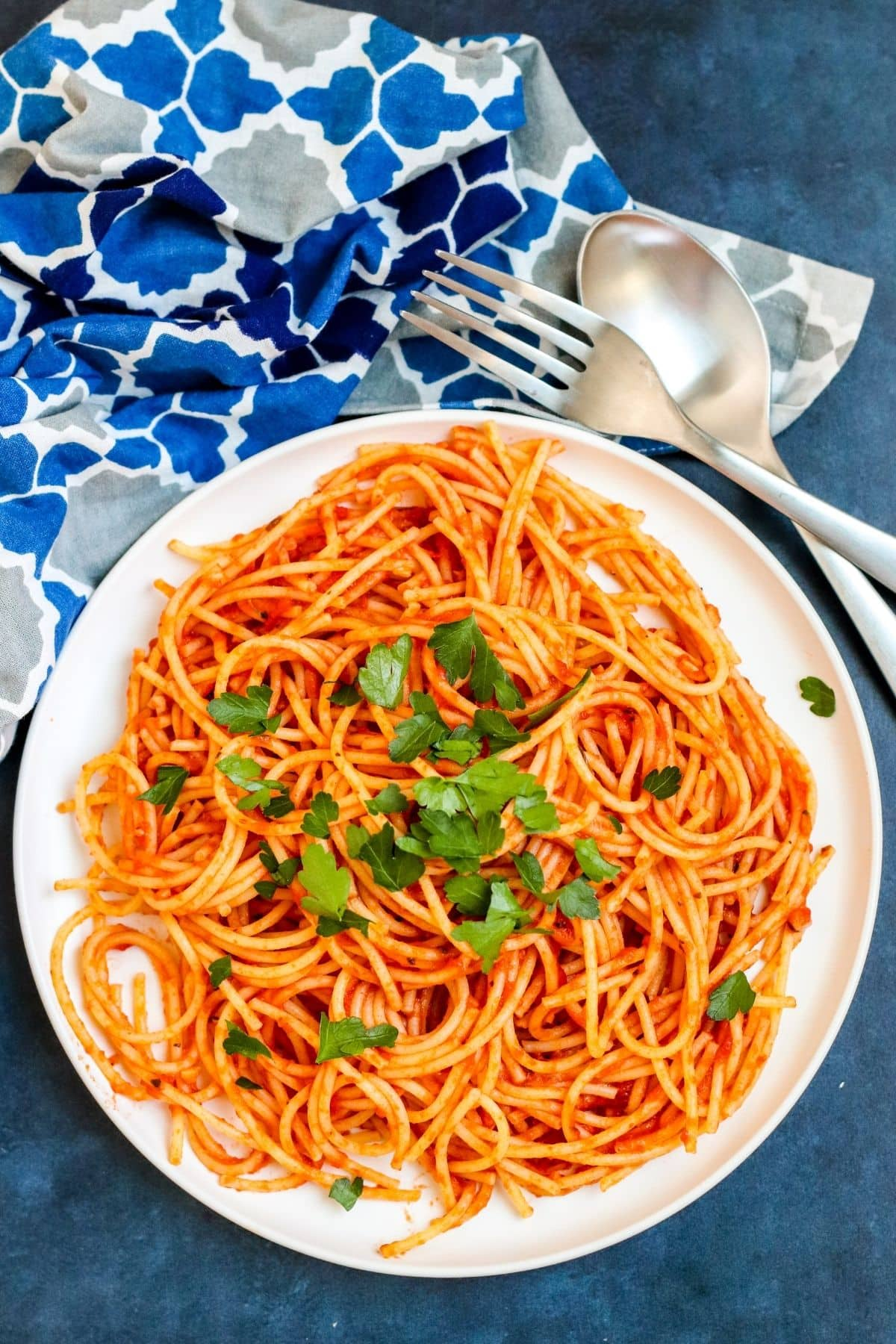Plate of spaghetti with tomato sauce garnished with Italian parsley