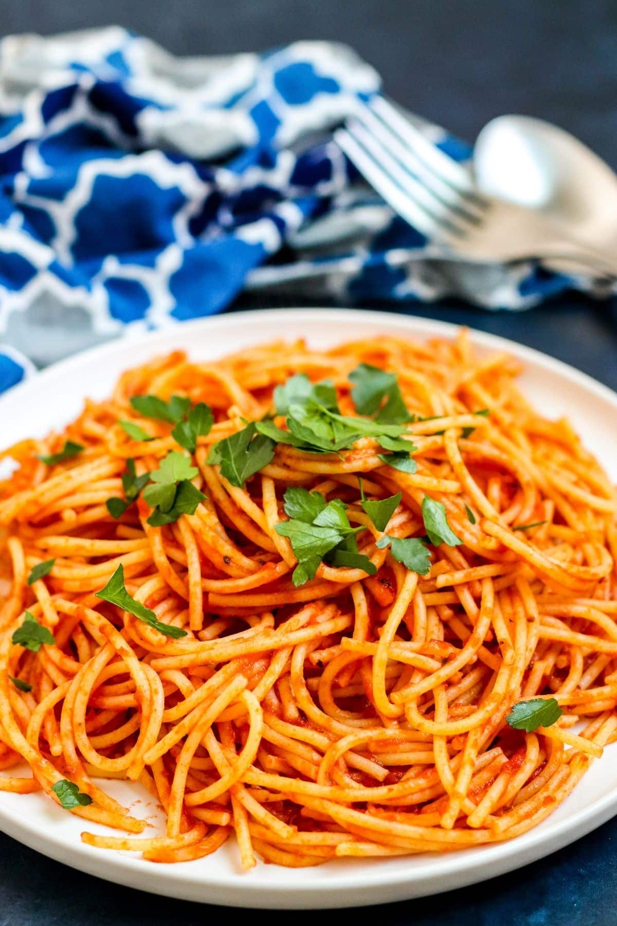 Close up of plate of spaghetti in tomato paste pasta sauce garnished with fresh herbs
