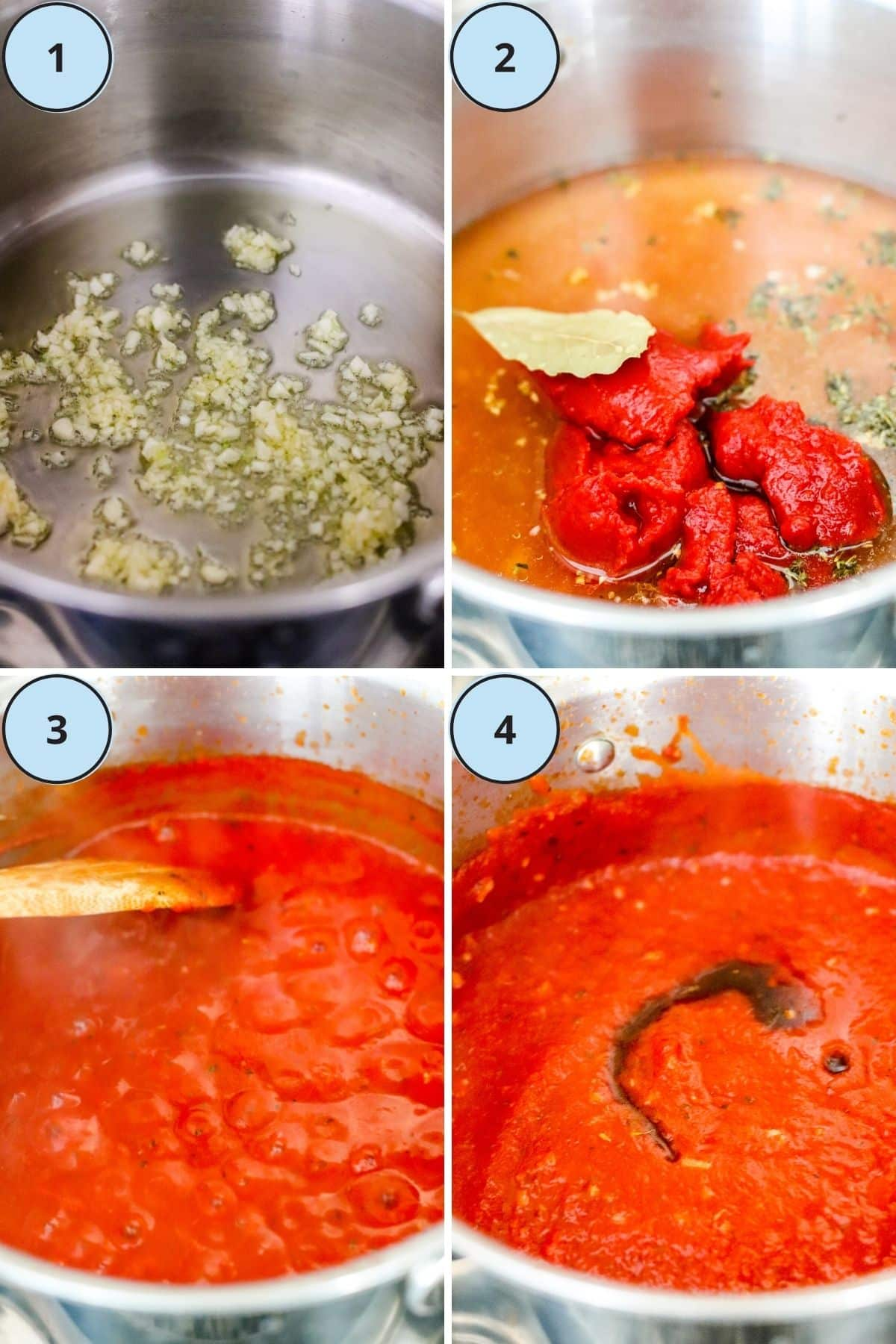 Collage of 4 process shots demonstrating the steps for how to make this recipe