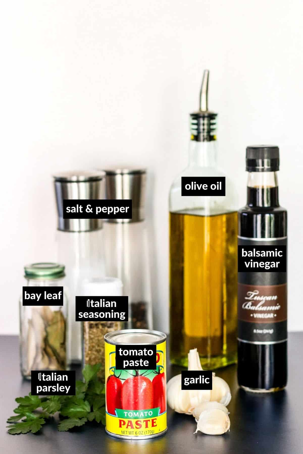 Labeled ingredients needed to make this recipe