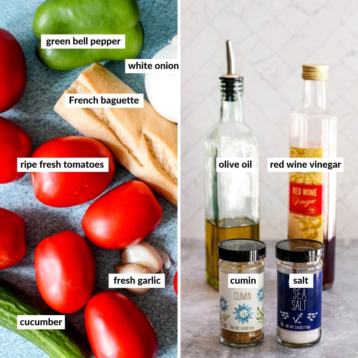 Collage of two images showing the labeled ingredients needed for making this recipe