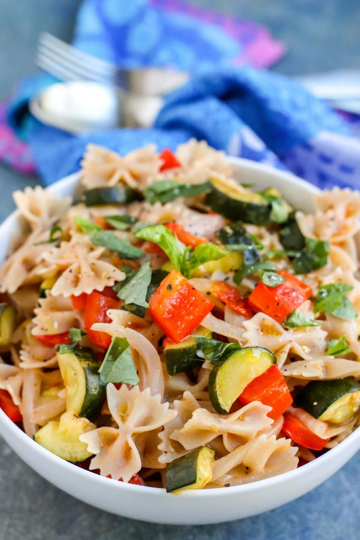 Close up of bowl of Mediterranean Roasted Vegetable Pasta