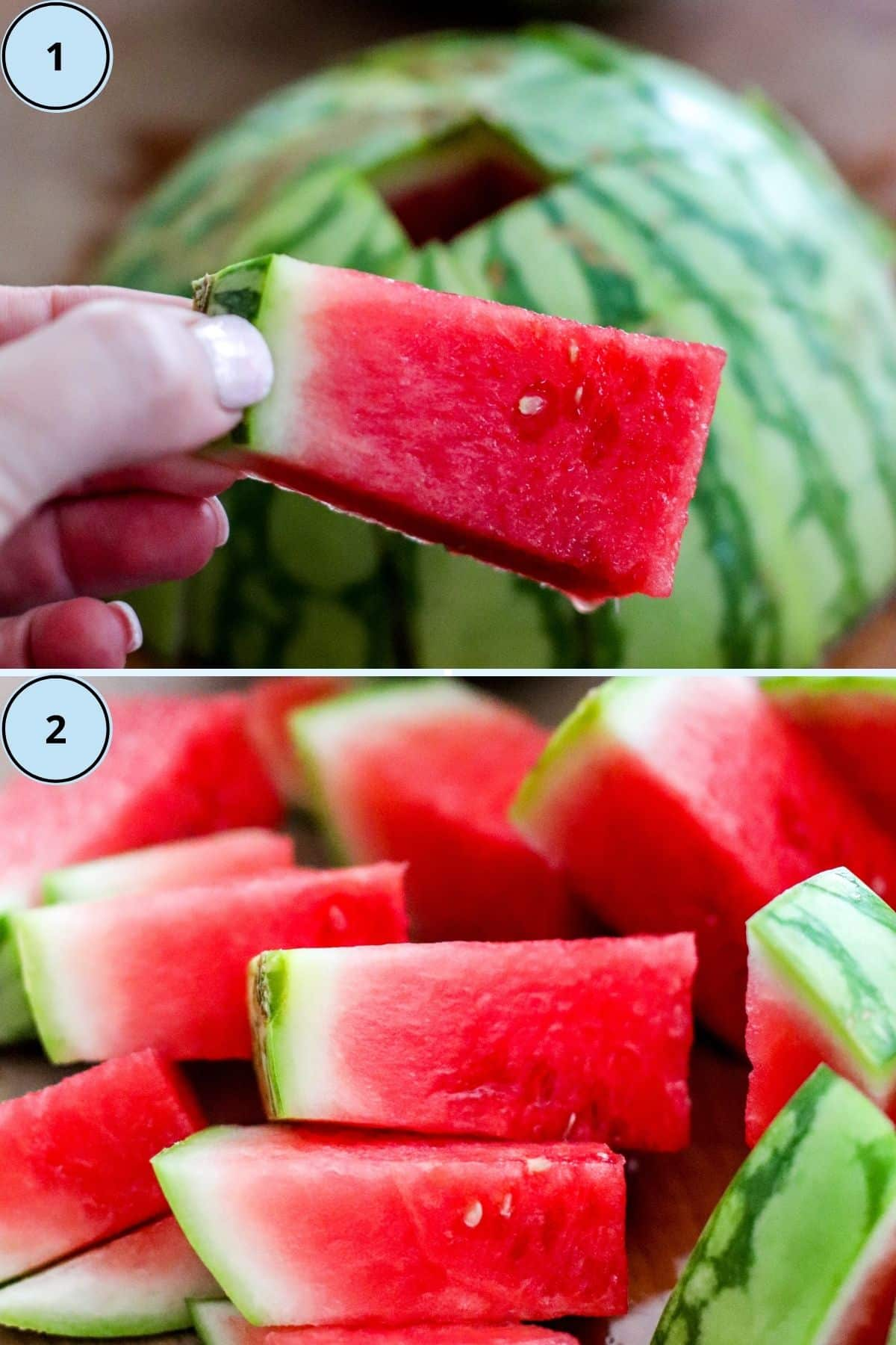 Collage of two images showing how to cut a watermelon into spears