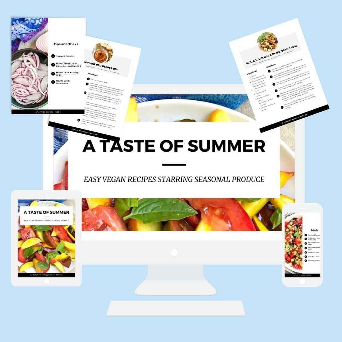A Taste Of Summer eBook on a computer, tablet, and iPhone plus a few pages from the cookbook