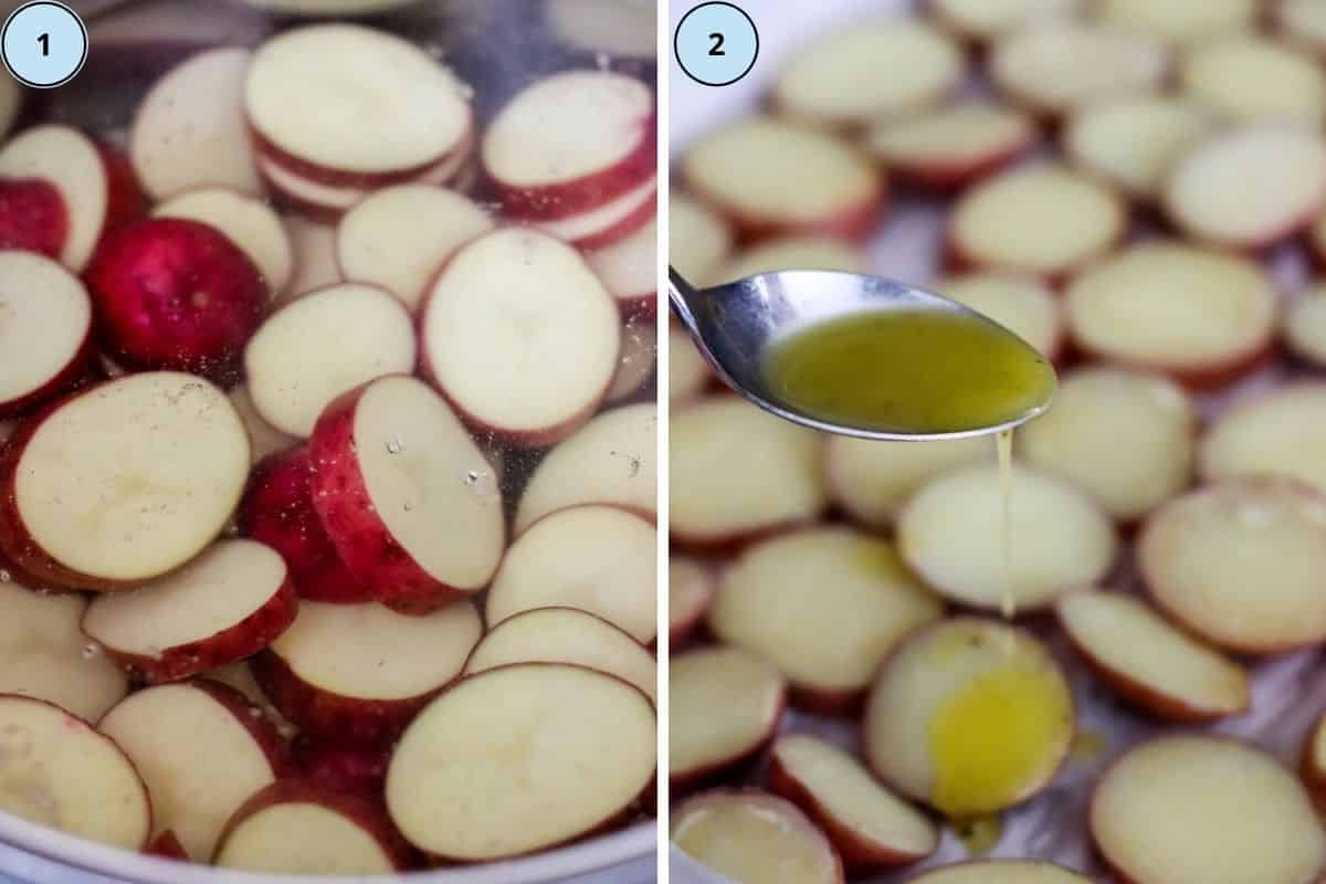 Collage of two images showing the steps for making this recipe