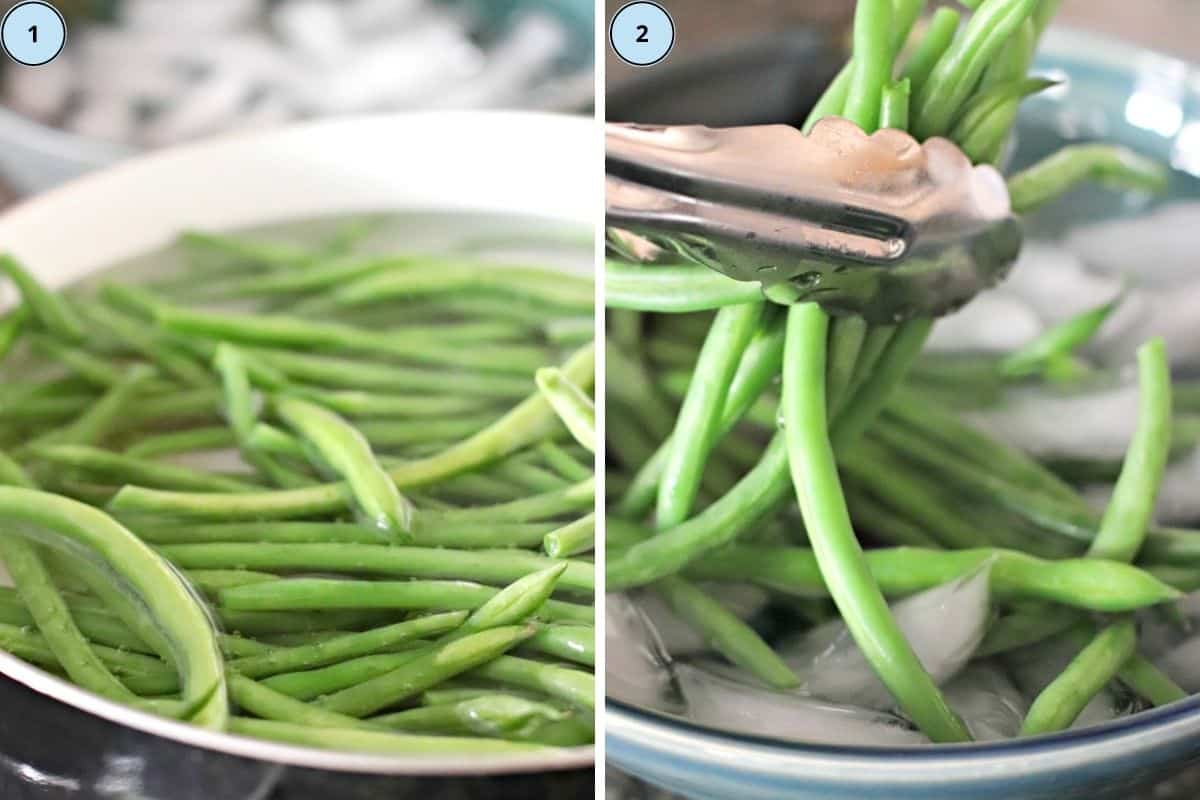 Collage of two images showing how to blanch the green beans