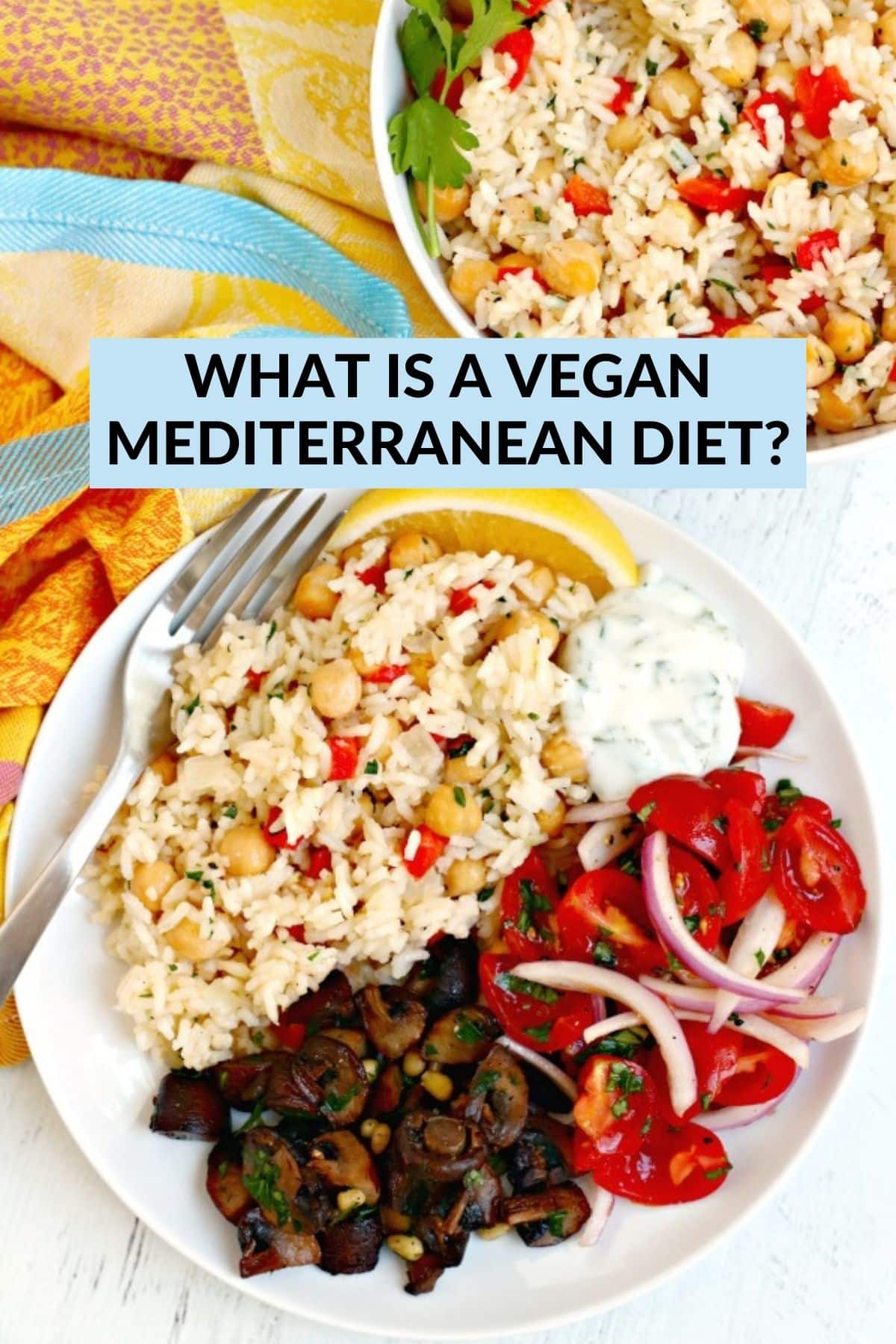 Dinner plate with rice pilaf, yogurt sauce, tomatoes and red onions, and roasted mushrooms,
