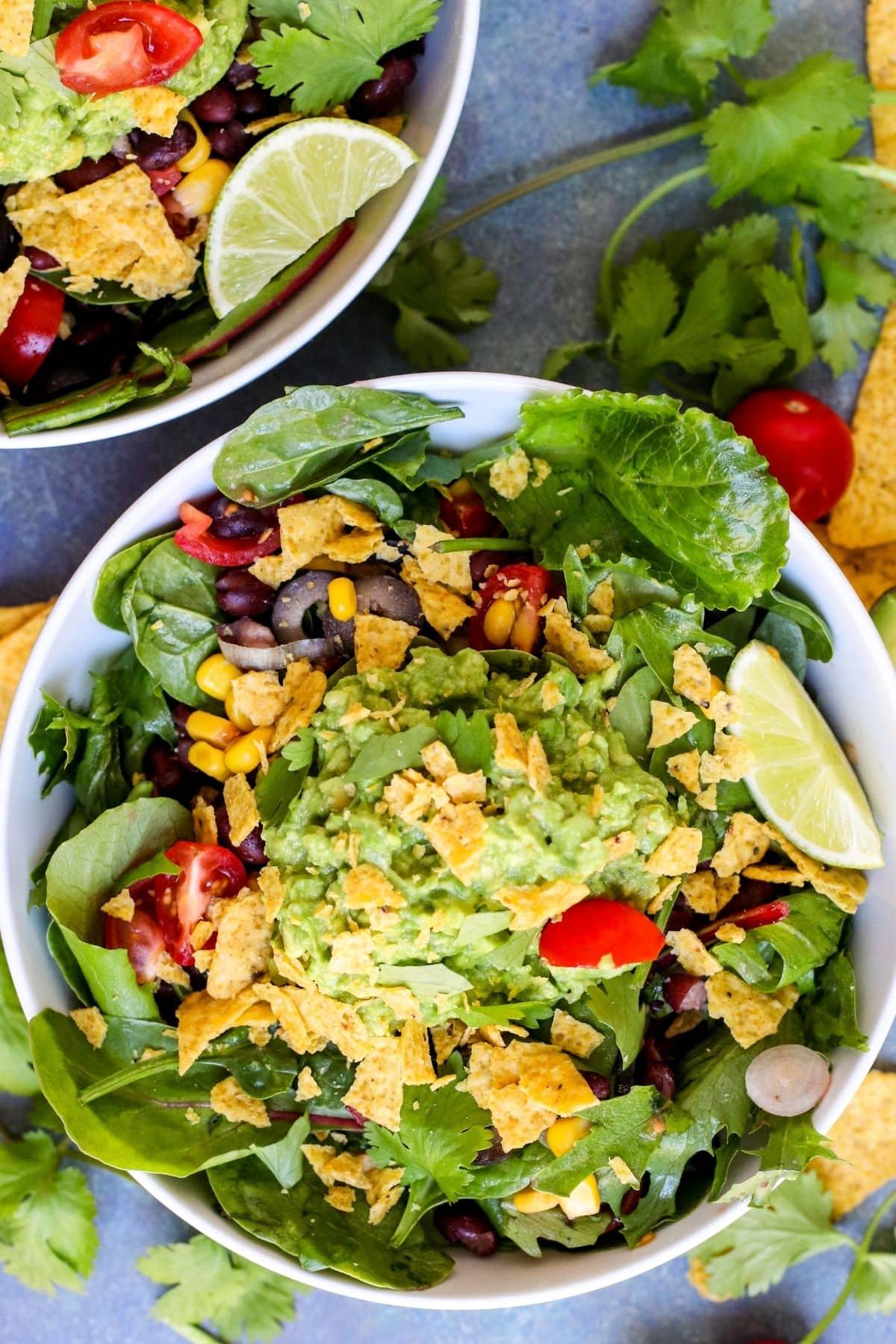 Overhead of bowl of Guacamole Salad