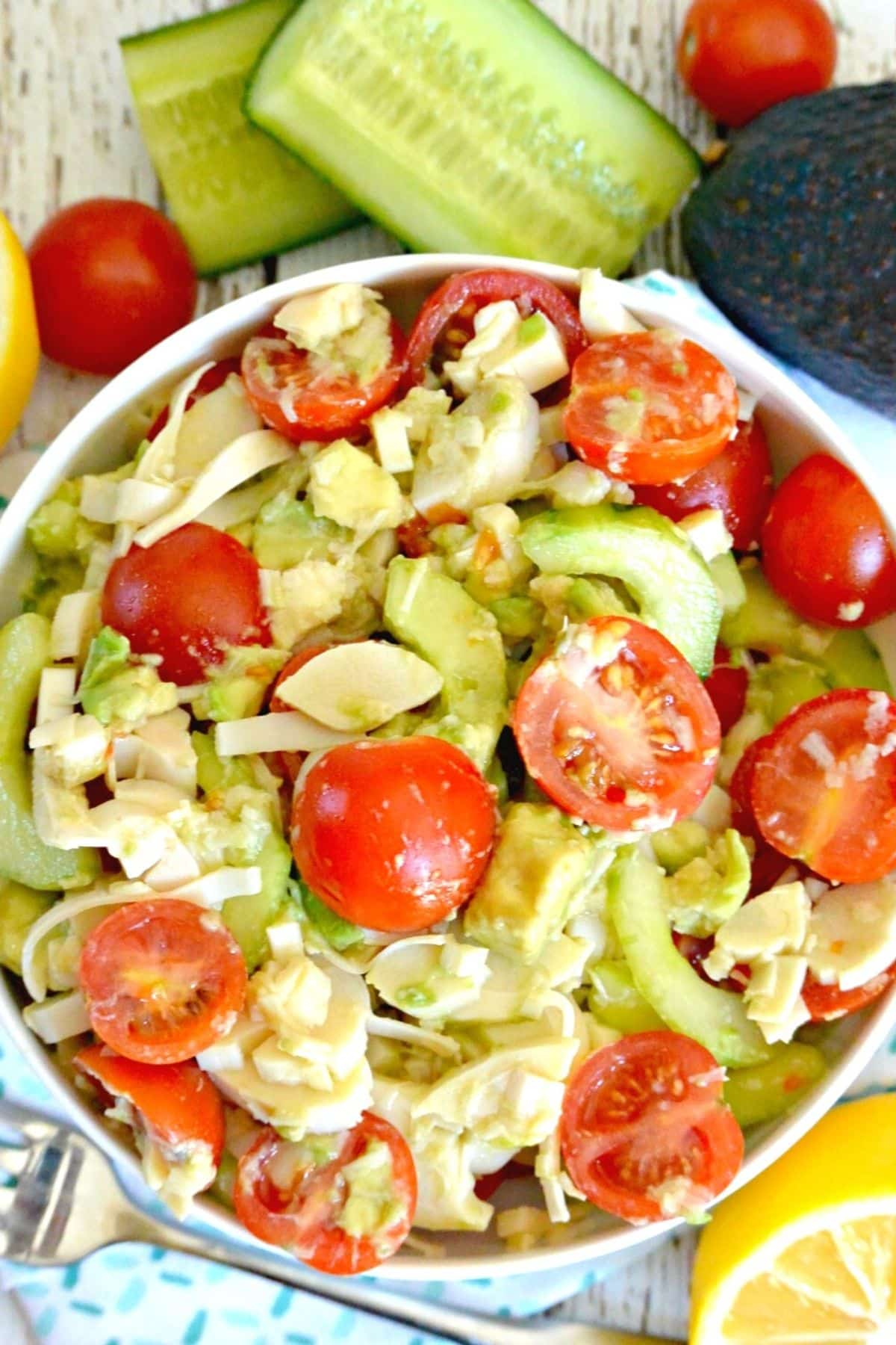 Close up overhead image of salad
