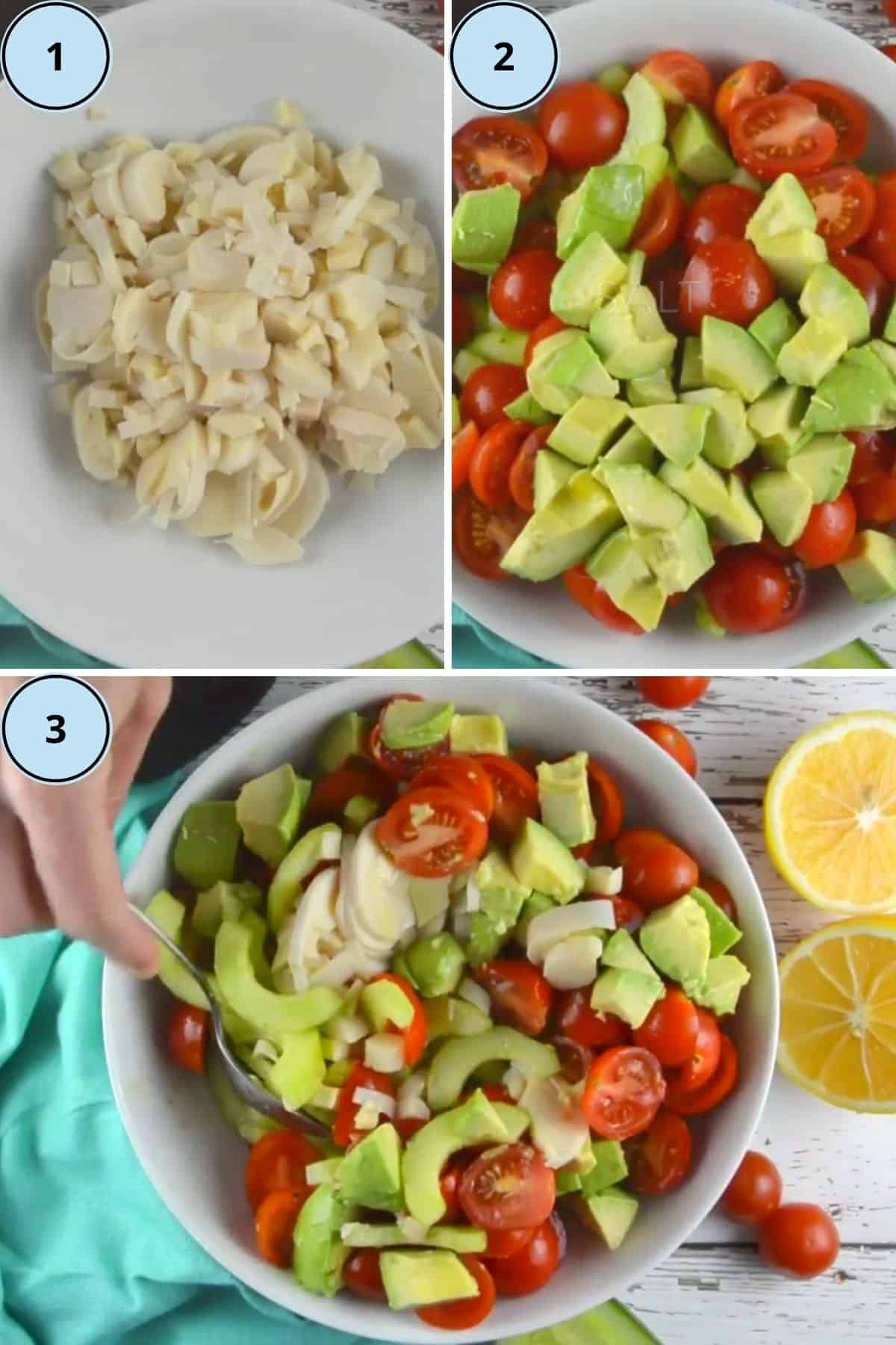 Collage of 3 photos showing how to prepare this recipe