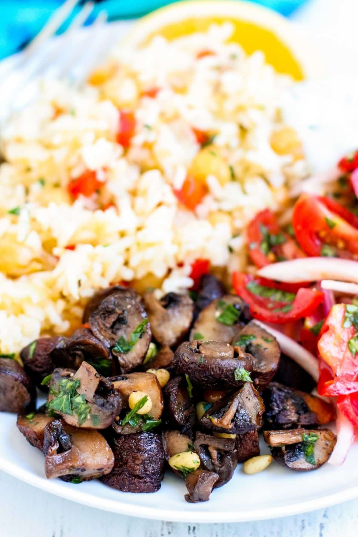 Dinner plate of roasted mushrooms, chickpea rice pilaf, yogurt sauce, and tomatoes and red onions