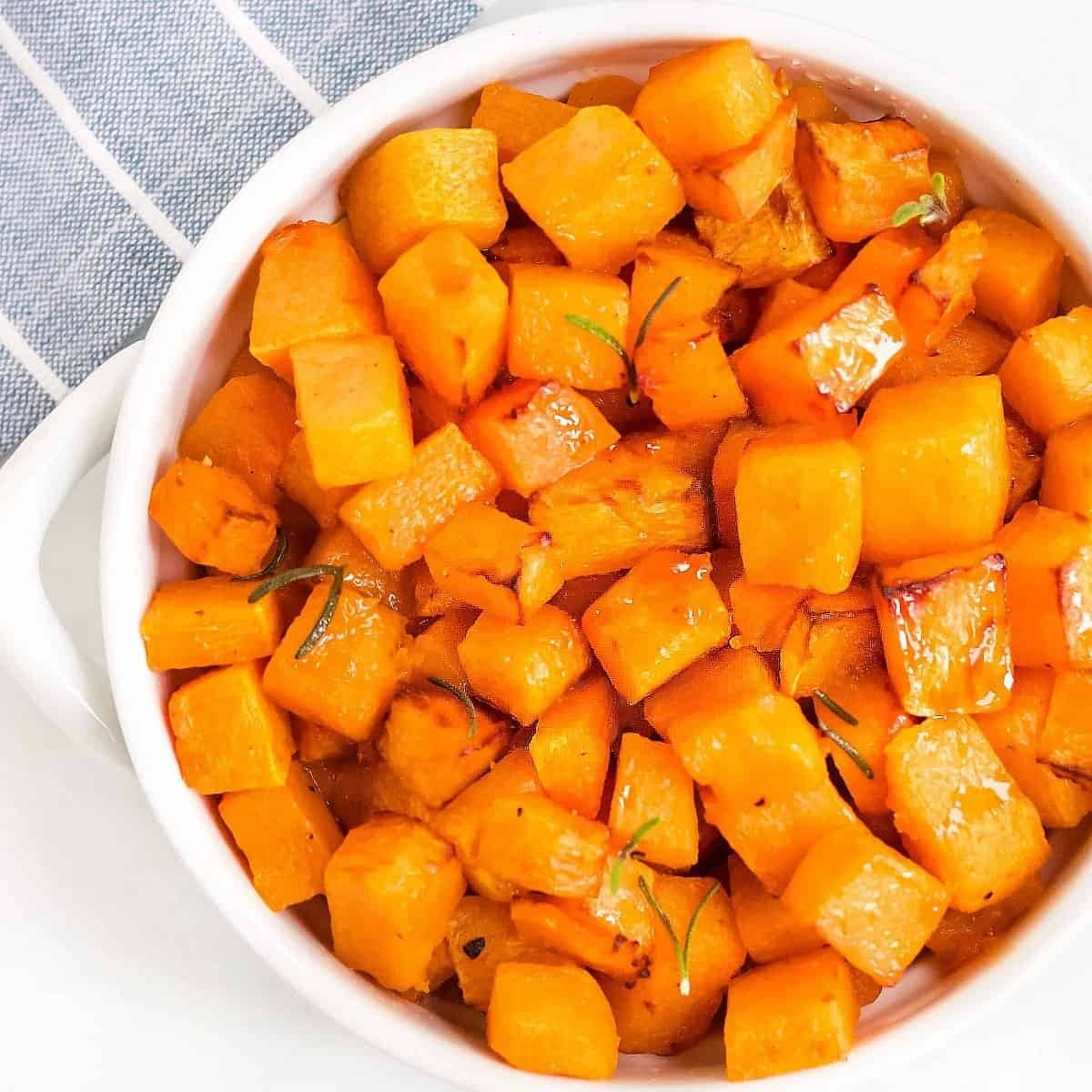 Bowl of roasted butternut squash cubes