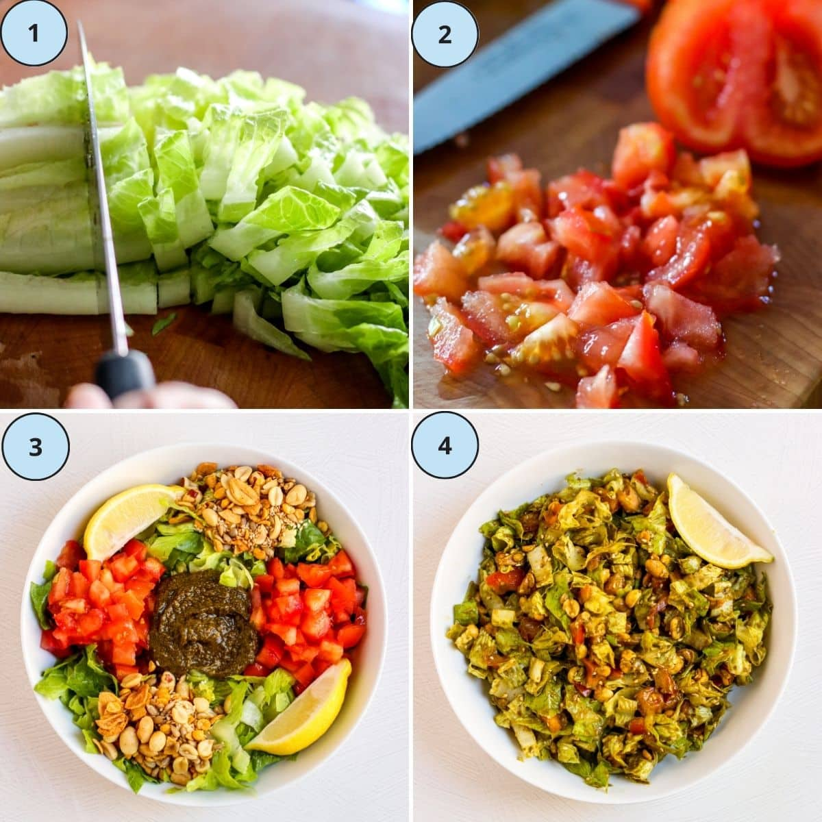 Collage of 4 numbered images showing how to make this recipe