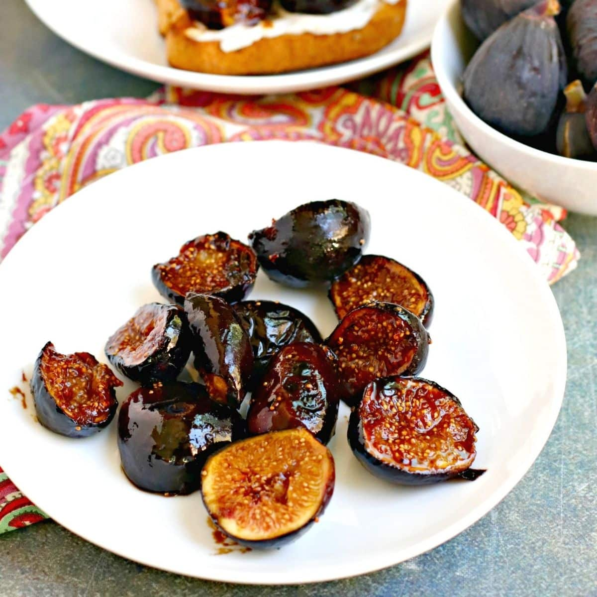 Caramelized figs on a plate