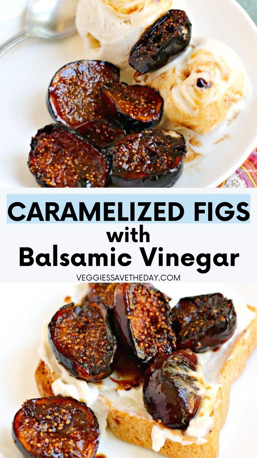 Caramelized figs with vanilla ice cream and on toast with cream cheese