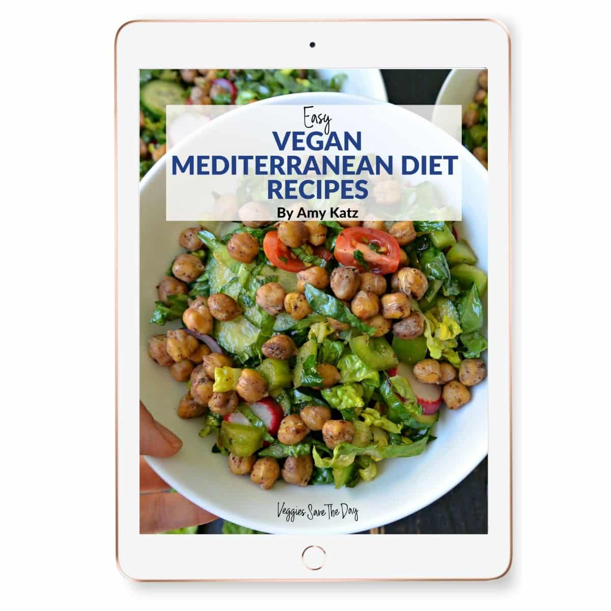 Cover of Easy Vegan Mediterranean Diet Recipes eBook shown on a tablet