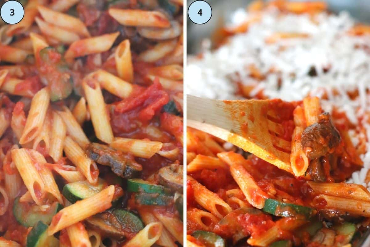 Collage of 2 images showing the steps 3 and 4 of how to make this recipe.