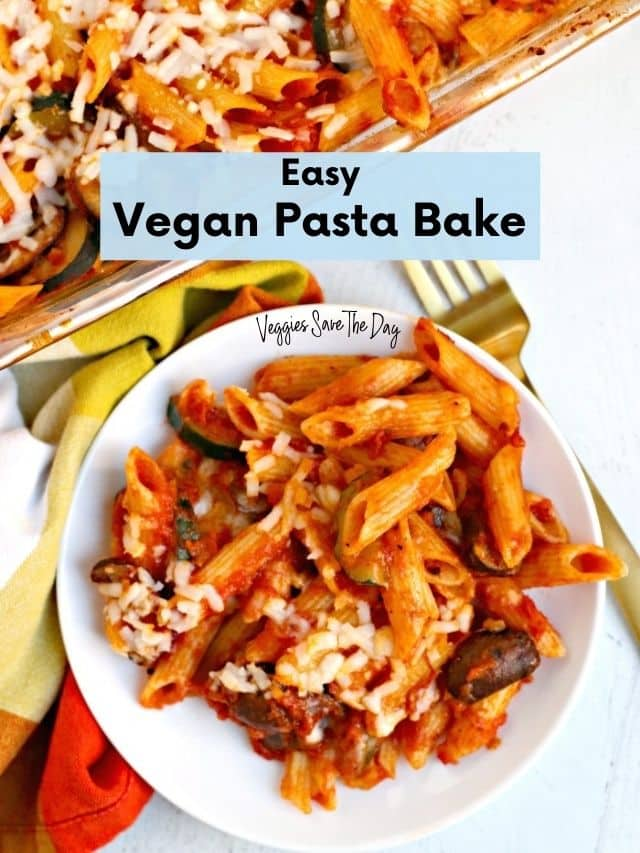 Plate of vegan pasta bake with casserole dish in the background