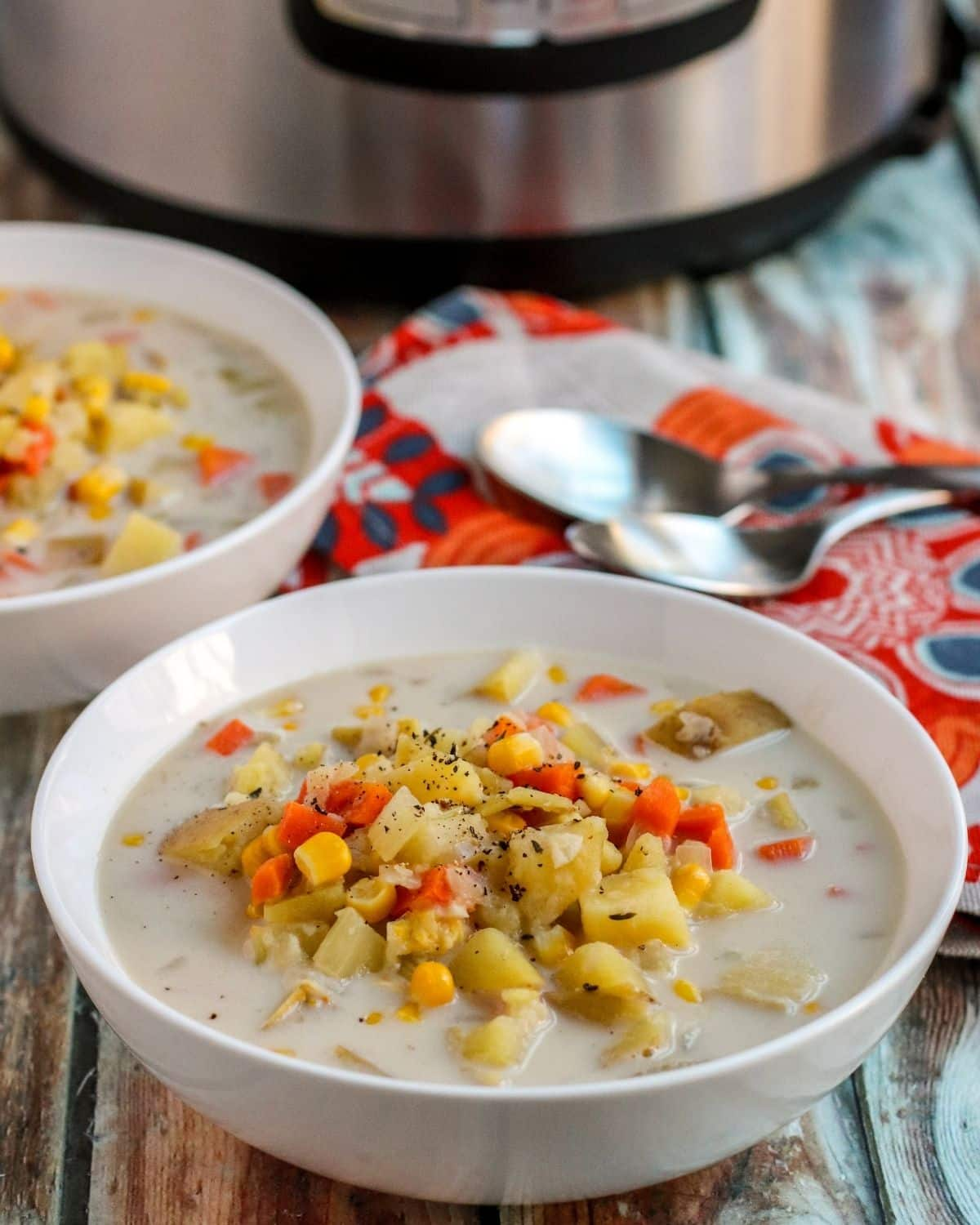 Bowls of chowder with Instant Pot in the background