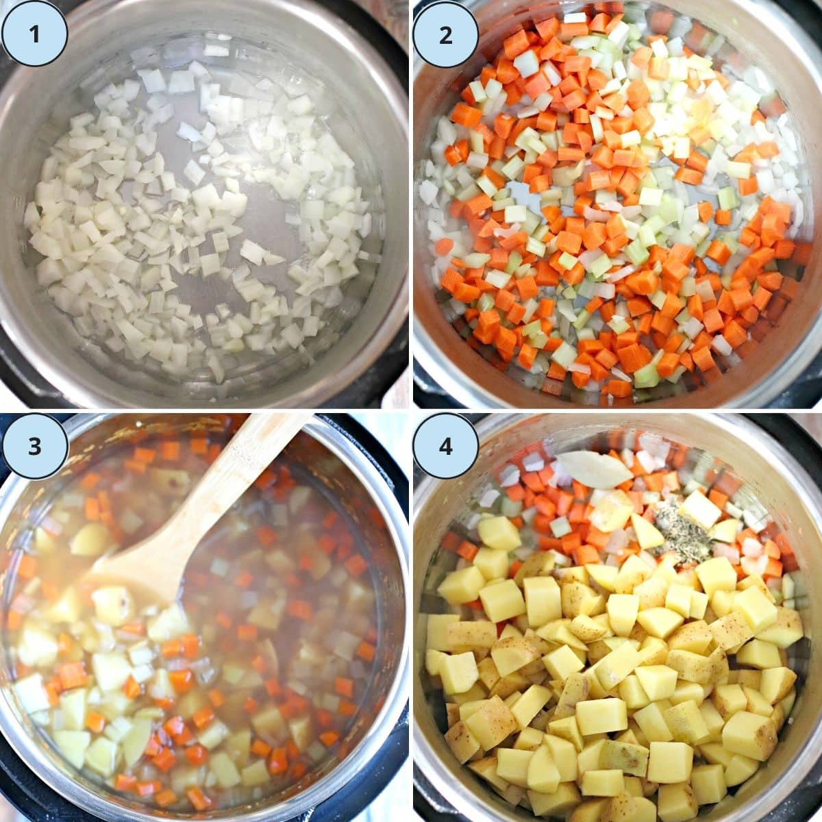 Collage of images showing steps 1 through 4 for making this recipe