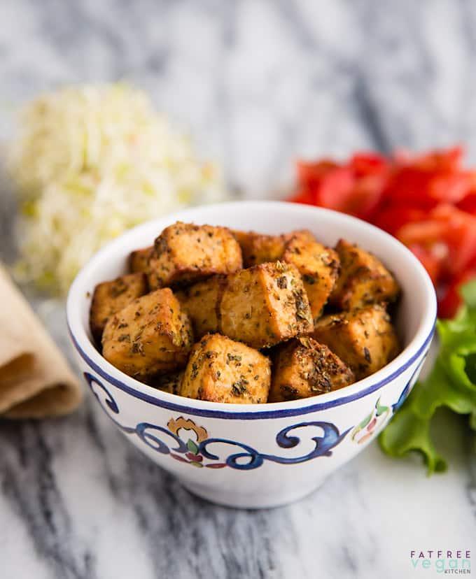 Bowl seasoned tofu cubes