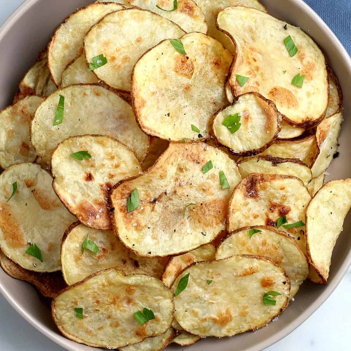 Potato Chips garnished with chives