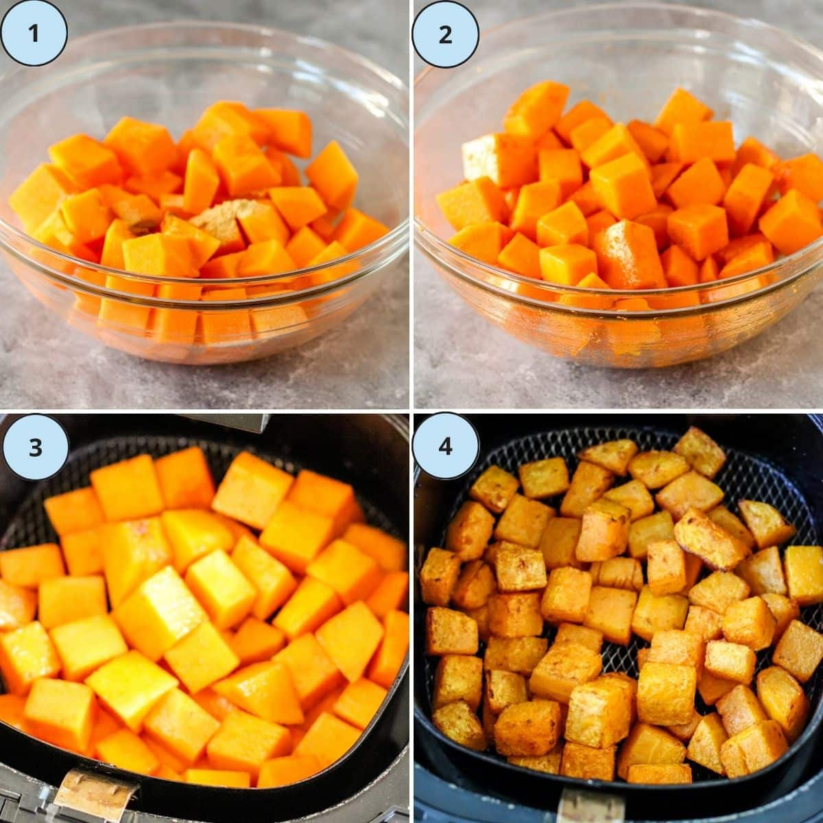 Collage of 4 images showing how to prepare this recipe.