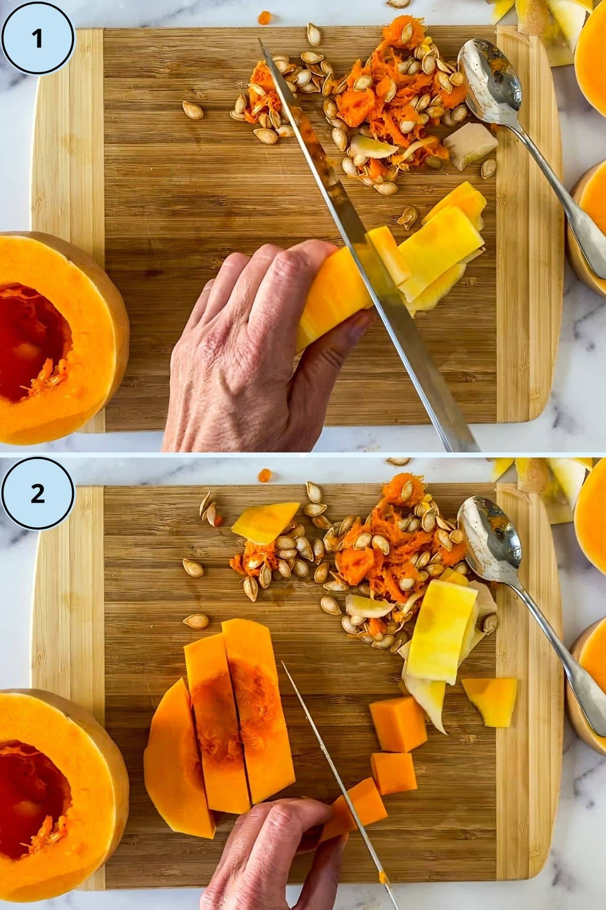 Collage of 2 images demonstrating how to peel and dice the squash.