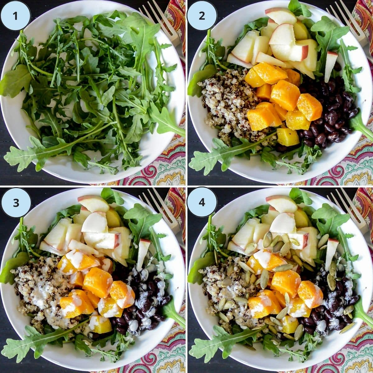 Collage of 4 numbered images showing how to make this recipe.