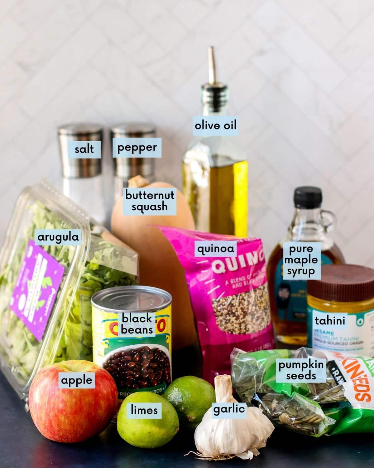 Labeled ingredients needed to make this recipe.