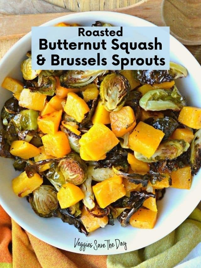 Bowl of roasted butternut squash and Brussels sprouts.